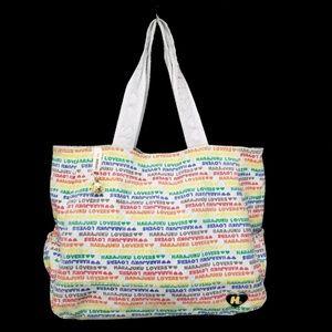 Harajuku Lovers grey canvas hobo bag rainbow logo
